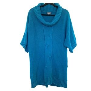 Tunic Sweater Dress Cowl Neck Teal Turquoise XL